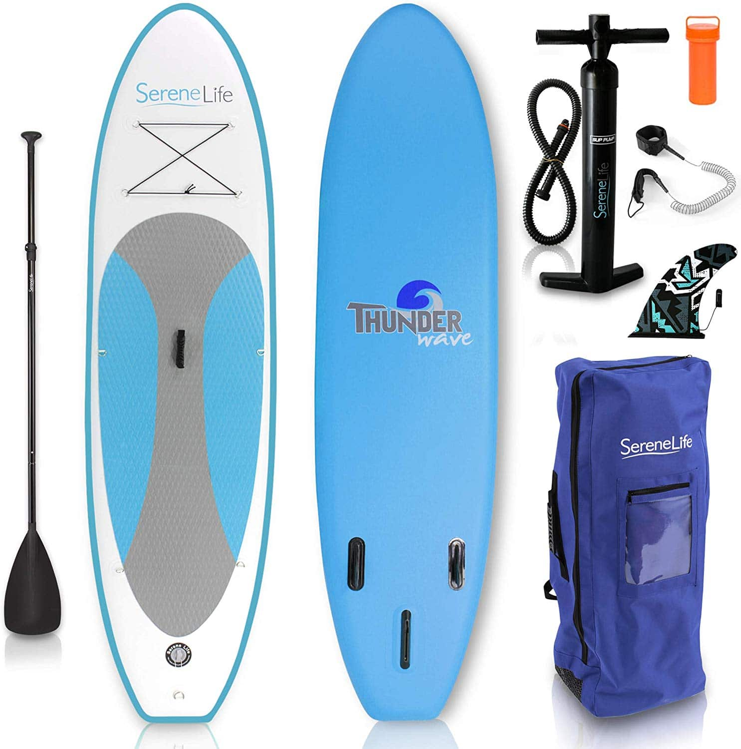SereneLife inflatable standup paddle board
