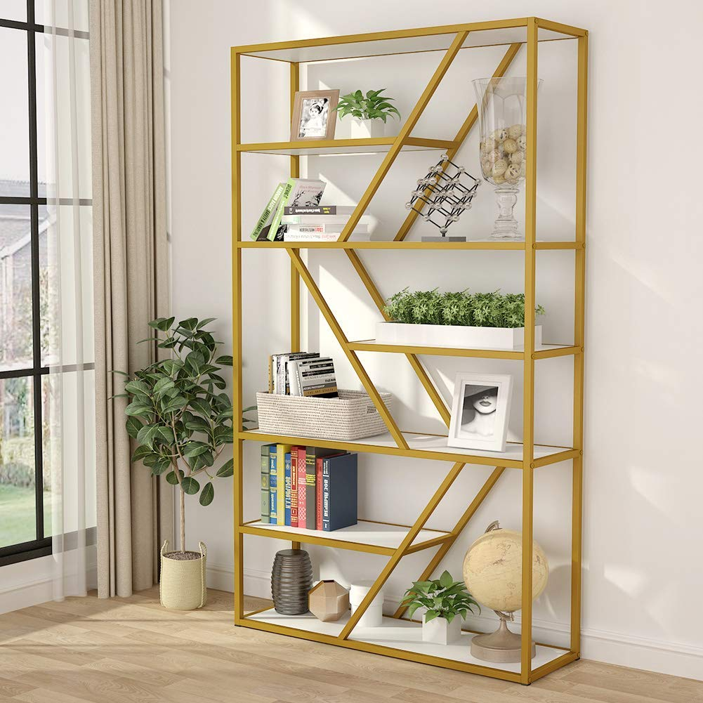 Etagere Bookcase With Gold Metal Frame