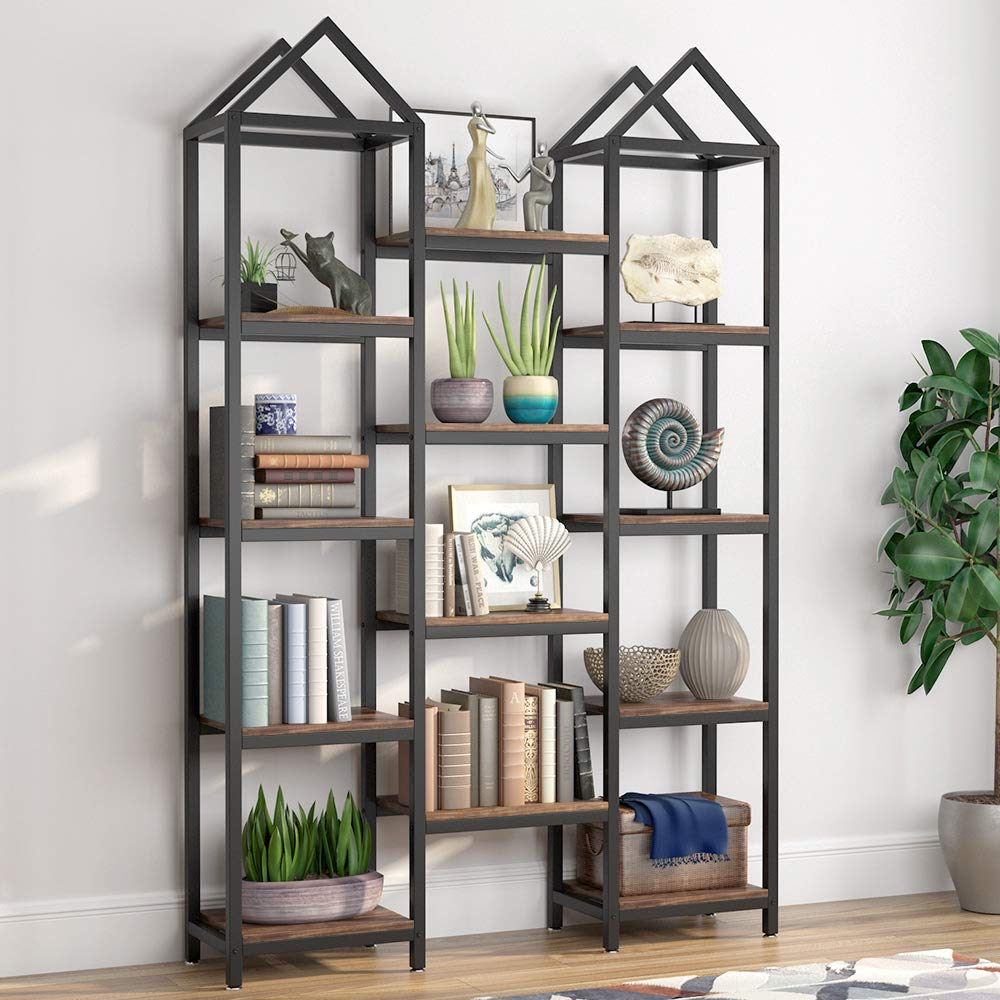 Tribesigns Rustic Triple Wide Bookshelf