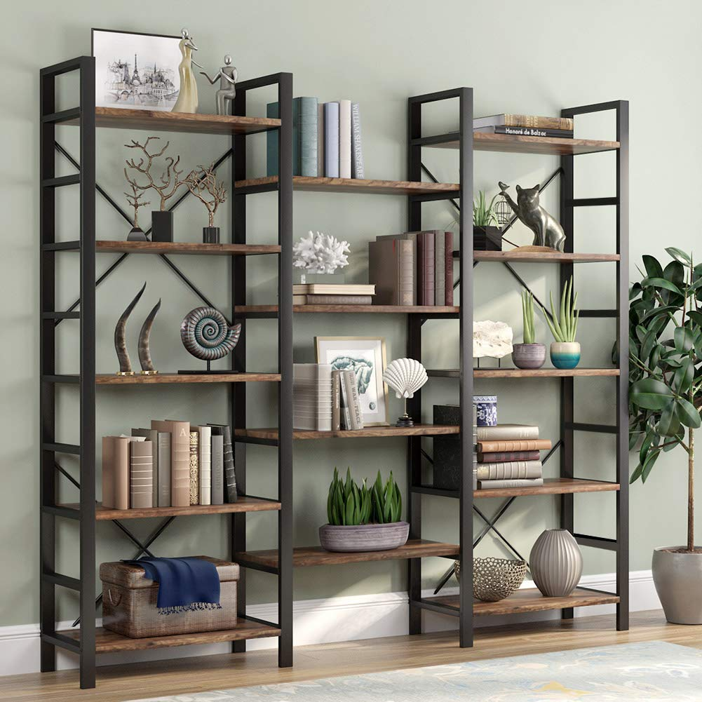 Tribesigns Triple 5-Shelf Bookcase
