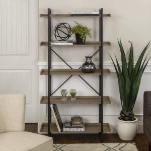 Walker Edison Furniture Company Metal Pipe Bookshelves for Home & Office