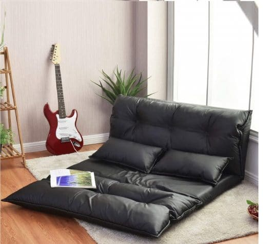 1. Floor Sofa PU Leather Leisure Bed Video Gaming Sofa with Two Pillows, Black
