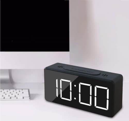 11.Mini Digital Alarm Clock for Travel with LED Time or Temperature Display, Snooze