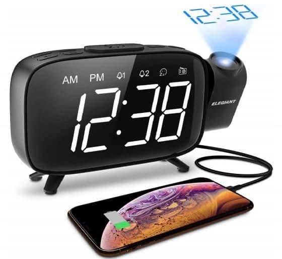 12.GIANT Projection Alarm Clock, FM Radio Alarm Clock, 6.0'' LED Curved-Screen Display