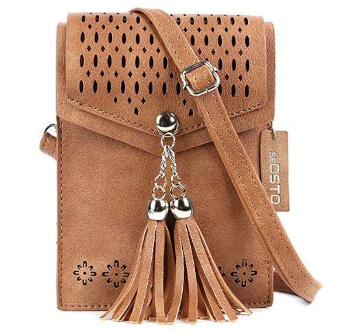 2. Womens Small Crossbody Bag, Tassel Cell Phone Purse Holder Wallet