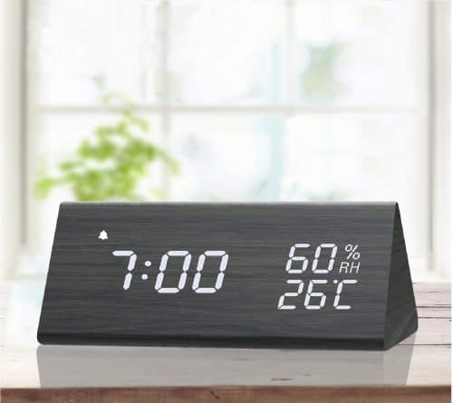 2.Digital Alarm Clock, with Wooden Electronic LED Time Display, 3 Alarm Settings, Humidity & Temperature Detect