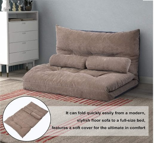 2.Floor Sofa Bed Futon Sofa Bed Sleeper Couch Sofa Foldable Lazy Sofa 5-Reclining for Living Room
