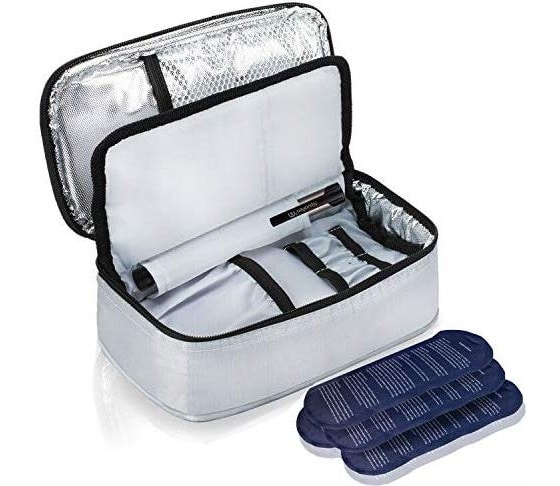 2.Insulin Cooler Travel Bag with 4 Ice Pack and Insulation Liner for Diabetic Organize Medication