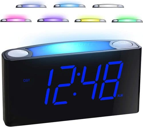 3.Alarm Clock for Bedrooms - 7 Color Night Light,2 USB Chargers, 7 Large LED Display with Slider Dimmer
