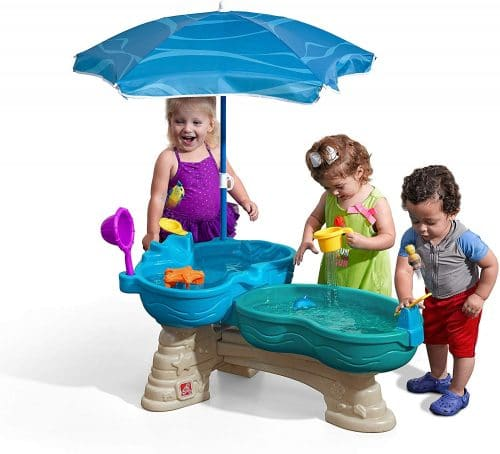 4.Spill & Splash Seaway Water Table Kids Dual-Level Water Play Table with Umbrella