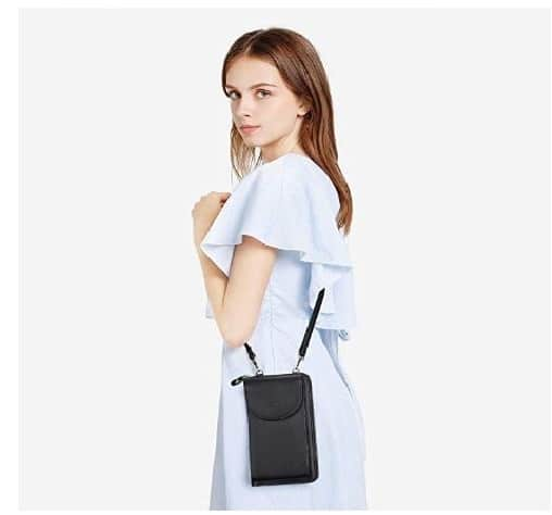 5.PU Leather RFID Blocking Crossbody Cell Phone Bag for Women Wallet Purse
