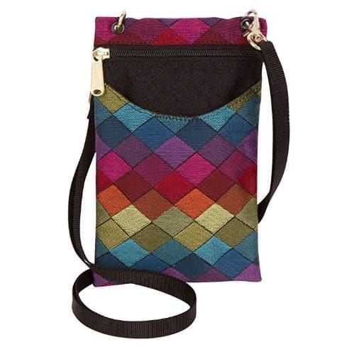 6.Women's Tapestry Crossbody Cell Phone or Passport Purse, Handmade in USA
