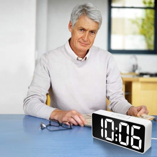 7.9 Large LED Digital Alarm Clock with USB Port for Phone Charger, 0-100 Dimmer, Touch-Activated Snooze