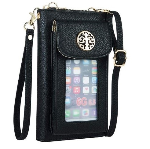 8. Crossbody Cell Phone Purse for Women Wristlet Wallet with Phone Holder RFID
