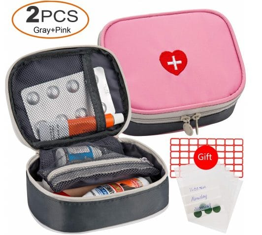 9.2pcs Portable Mini First Aid Kit, Multifunction Travel Medicine Storage Bag Emergency Kit for Outdoor Sports