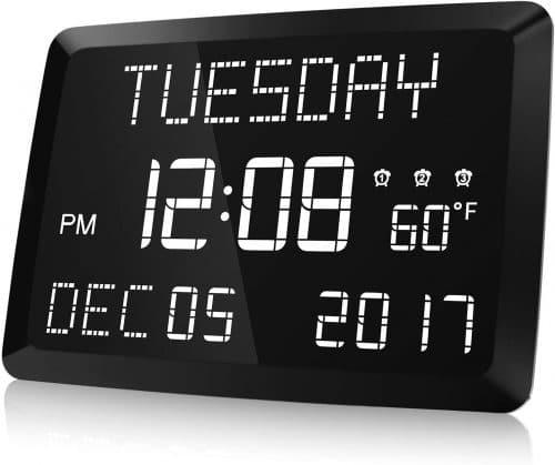 9.Digital Clock, Raynic 11.5 Large LED Word Display Dimmable Digital Wall Clock,Adjustable Brightness Digital