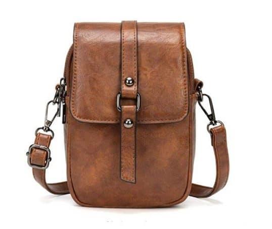 9.Vintage Crossbody Phone Bag, Small Messenger Shoulder Bag Cash Handbag Wallet Purs