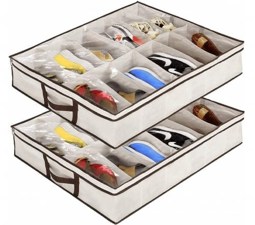 1.Under Bed Shoe Organizer for Kids and Adults - 12 Pairs - (2 Pack) - Underbed Shoes Closet Storage