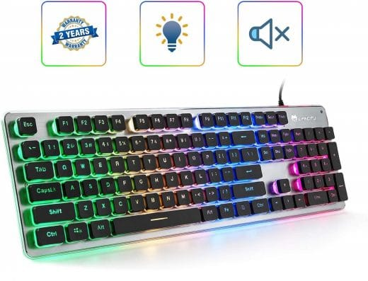 10.LANGTU Membrane Gaming Keyboard, Colorful LED Backlit Quiet Keyboard for Study