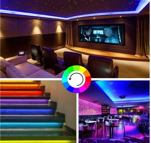 10.LED Strip Lights,32.8ft RGB 300LEDs Waterproof Light Strip Kits with infrared 44 Key