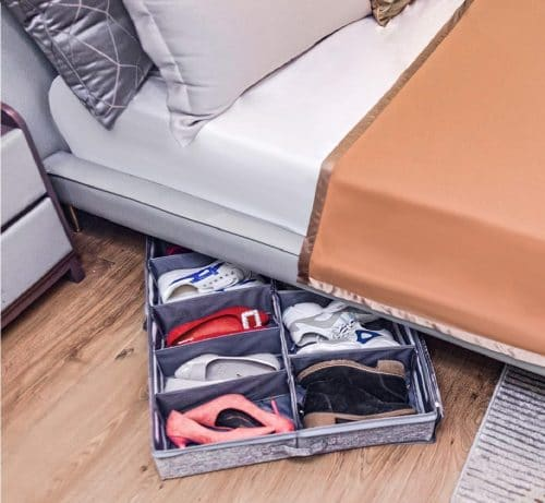 11.Under Bed Shoe Storage Organizers and Cotton Fabric Bags, 2 Pc Shoe Organizers