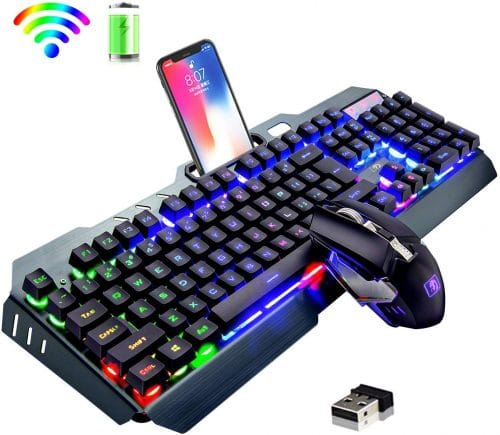 11.Wireless Keyboard and Mouse,Rainbow LED Backlit Rechargeable Keyboard Mouse with 3800mAh Battery Metal Panel