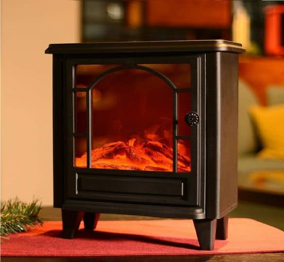 12.Flameless Lantern Realistic Fireplace Light, 3D Simulation Flame with Rectangle