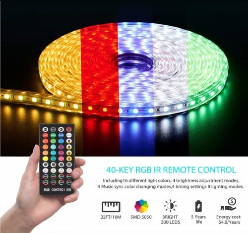 12.Led Strip Lights, 32.8ft IP65 Waterproof LED Light Strip with Music Sync, SMD 5050 Dimmable 16 Colors Light