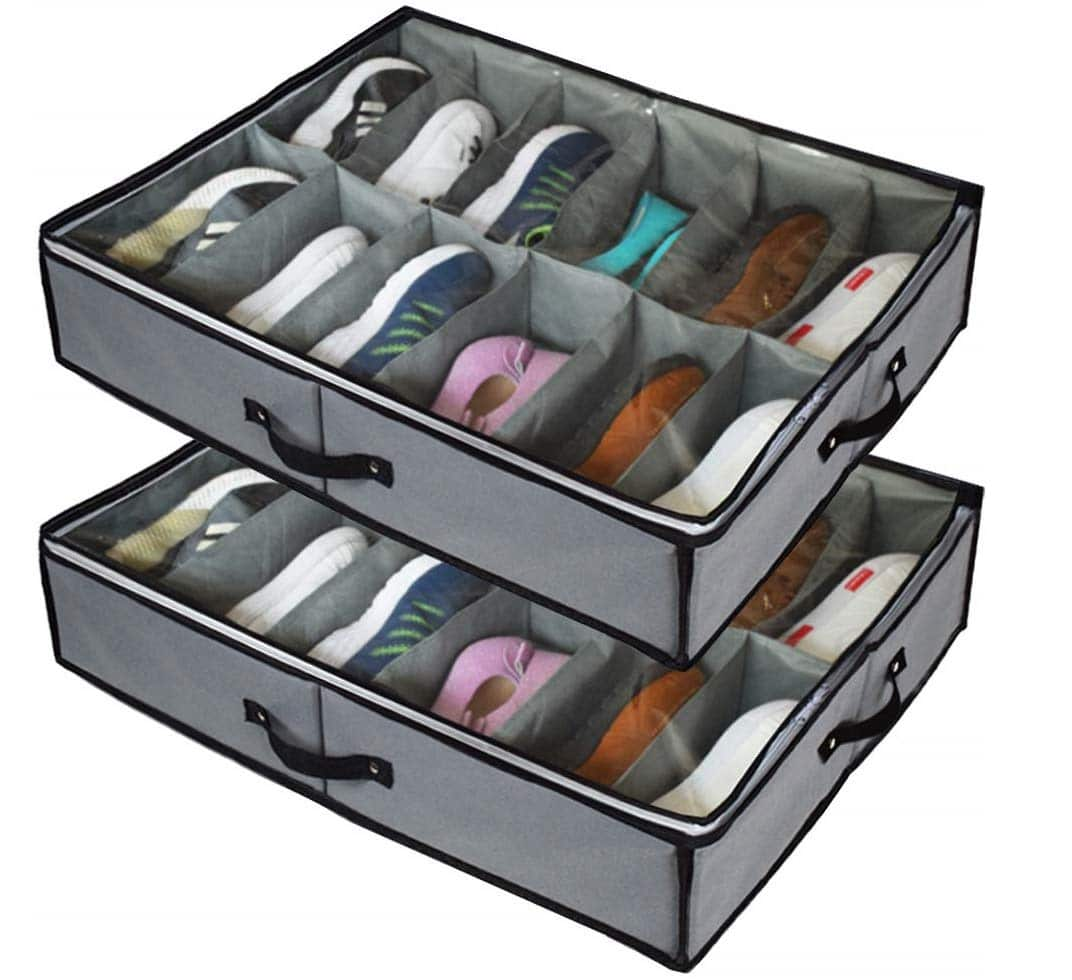 12.Under Bed Shoe Storage Organizers ,2 Pack Fit 24 Pairs, Underbed Shoe Storage Containers Box Bags