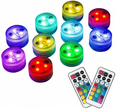 13.10pcs Submersible LED Lights with Remote, Waterproof, Battery Operated Color Changing LED