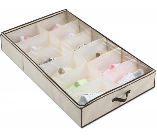 13.Under Bed Shoes Storage Organizer with Built-in Structure, Sneaker Closet Underbed Shoe Holder Rack
