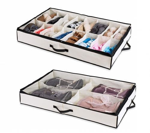 2.Under The Bed Shoe Organizer Fits 16 Pairs + 4 Pairs Boots – Sturdy & Breathable Materials