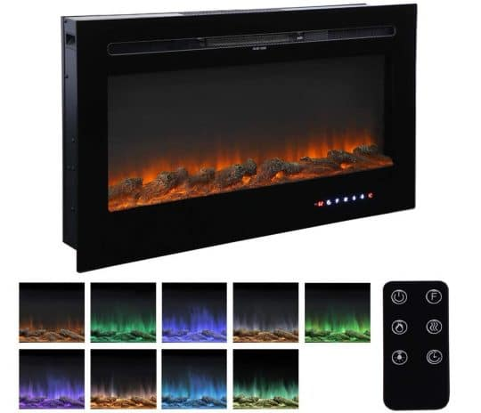 3.36 Recessed Mounted Electric Fireplace Insert with Touch Screen Control Panel