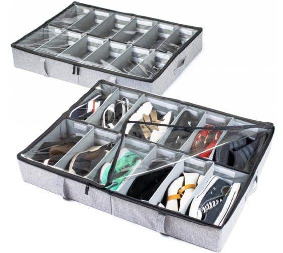 3.Under Bed Shoe Storage Organizer, Adjustable Dividers - Set of 2, Fits 24 Pairs Total