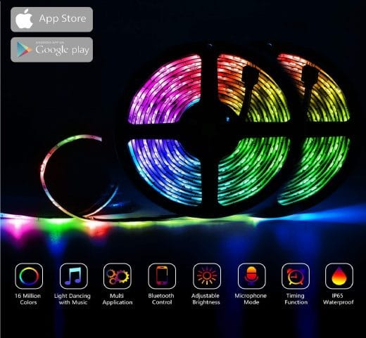 4.LED Strip Lights RGB Strips 32.8ft Tape Light 300 LEDs SMD5050 Waterproof Music Sync Color