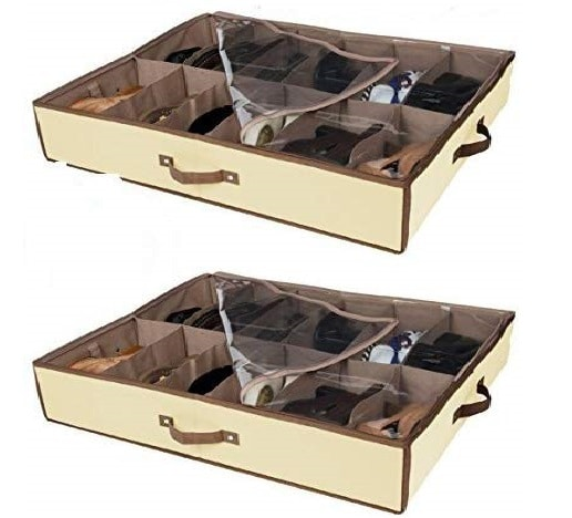 4.Set of 2 Under Bed Shoe Storage - All 4 Sides is Sturdy- Drawers,Closet Box Organizer Natural Canvas