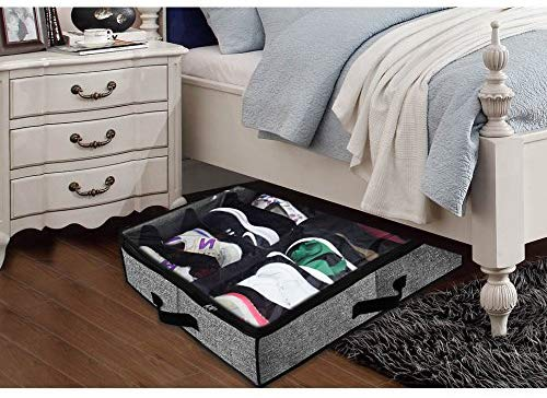 5.Shoe Organizer Under Bed,Fit 12 Pairs Underbed Shoe Container Box Storage with Clear Window