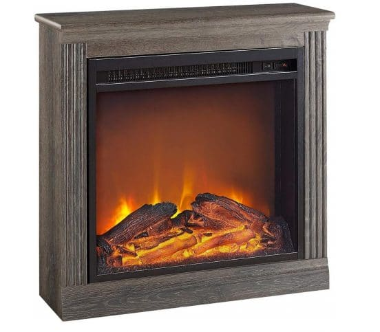 6.Ameriwood Home Bruxton Electric Fireplace, Medium Brown