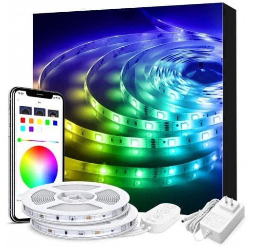 6.LED Strip Lights Phone Control, Govee 32.8ft Waterproof Wireless Led Light Strip Kit,