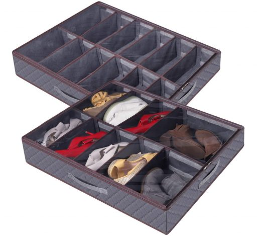 6.Shoe Storage Organizer Large Adjustable Dividers Under Bed Bag with Durable Fabric