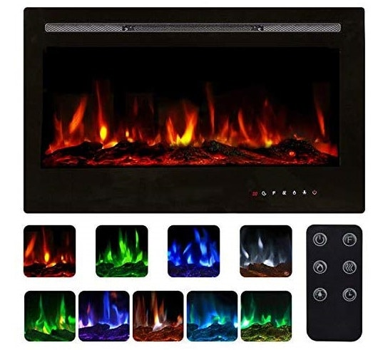 7.Recessed Wall Mounted Electric Fireplace Insert, 9 Colors Flame Touch Control Screen & Remote