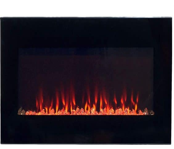 8.Electric Fireplace Wall Mounted LED Fire and Ice Flame, with Remote, 36, Black