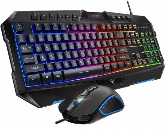 8.PICTEK Backlit Keyboard and Mouse Combo, LED Wired Gaming Keyboard, Ergonomic Keyboard, Wrist Rest