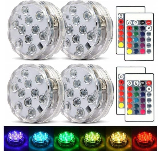 8.Submersible Led Lights Waterproof Multi-color Battery Remote Control, Party Perfect Decorative Lighting,
