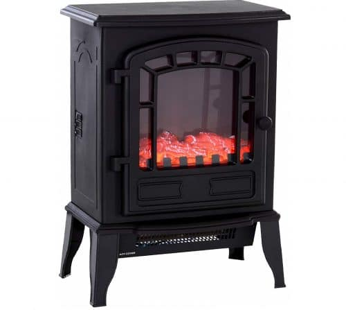 9.Freestanding 1500W Steel Electric Fireplace Stove Space Heater Infrared LED