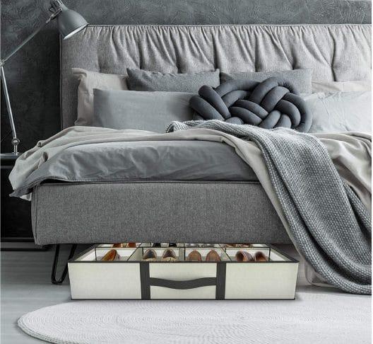 9.Under bed Shoe Storage Organizer - UPGRADED DESIGN - Adjustable Dividers