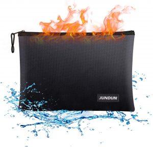 JUNDUN Waterproof and Fireproof Document Bags with Zipper