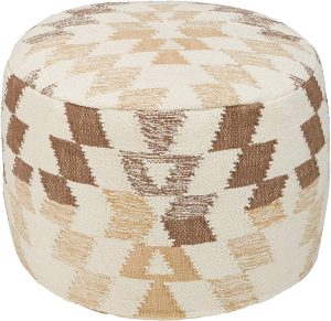 Signature Design by Ashley Pouf White and Brown Pouf