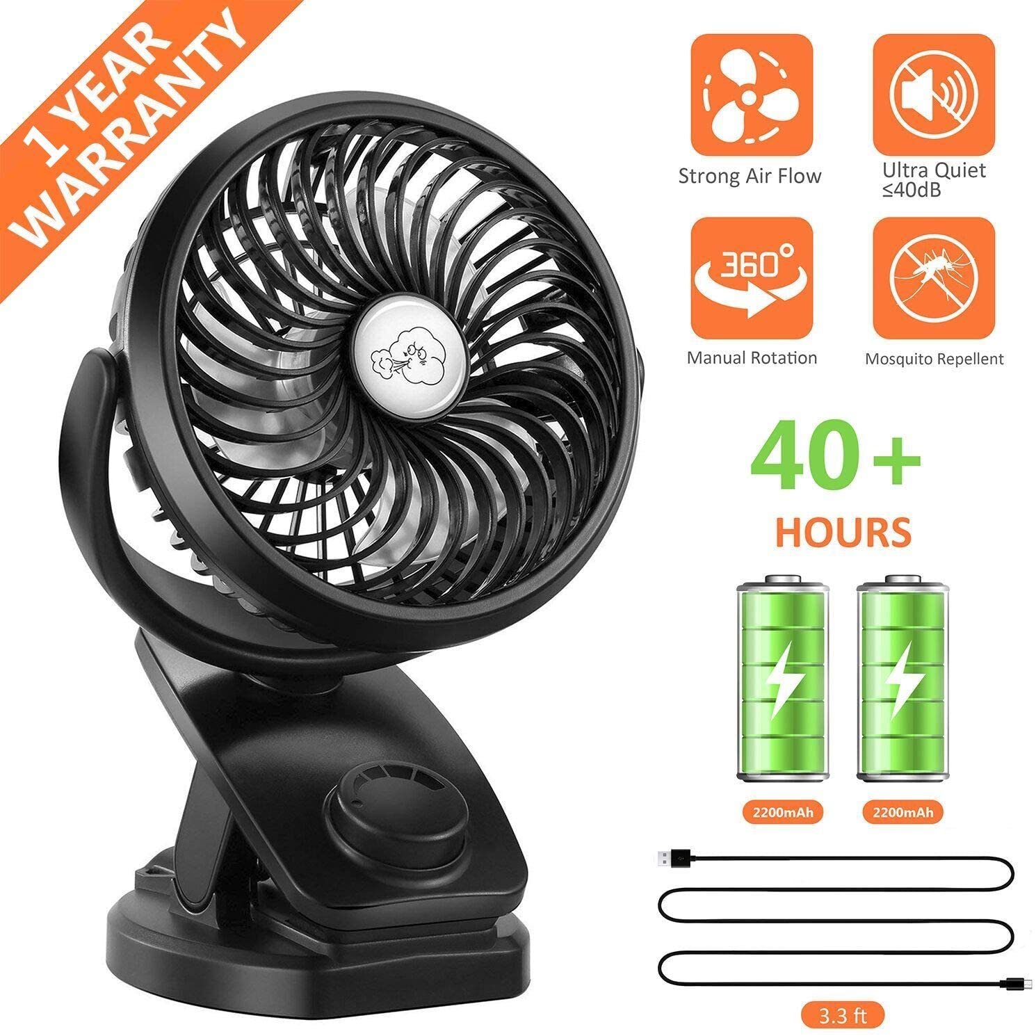 COMLIFE Battery Operated Clip on Portable Fan
