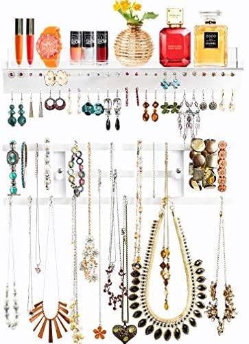 #10. Pretty Display Crystal Clear Wall Jewelry Organizer